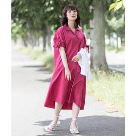 【コットン100%】開襟 オープンカラー  半袖 シャツワンピース (ピンク)