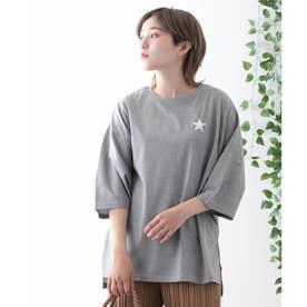 【日本製】ワンポイントスタープリント ビッグシルエットTシャツ (グレー)