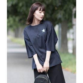 【日本製】ワンポイントスタープリント ビッグシルエットTシャツ (ネイビー)