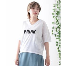 【日本製】ビッグシルエット ロゴTシャツ (オフホワイト)