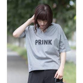 【日本製】ビッグシルエット ロゴTシャツ (グレー)