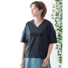【日本製】ビッグシルエット ロゴTシャツ (ネイビー)