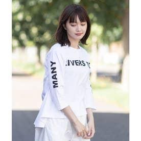 【コットン100%】フロントロゴ 半端袖Tシャツ (オフホワイト)
