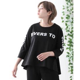 【コットン100%】フロントロゴ 半端袖Tシャツ (ブラック)