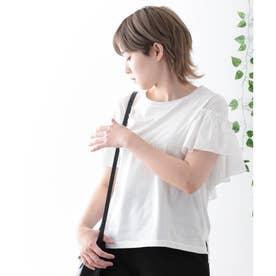 【日本製】バックフリル カットソー カットソー 半袖 (オフホワイト)