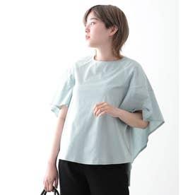 【日本製】バックスタイルペプラム 半袖 (ブルー)