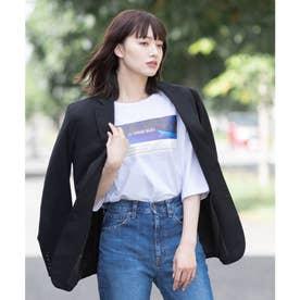 【コットン100%】前面プリント 半端袖 ラグランスリーブ Tシャツ (オフホワイト)