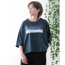 【コットン100%】前面プリント 半端袖 ラグランスリーブ Tシャツ (ネイビー)