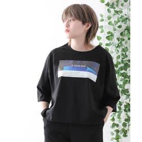【コットン100%】前面プリント 半端袖 ラグランスリーブ Tシャツ (ブラック)