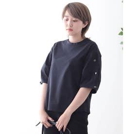 【コットン100%】ダイヤモンドスリーブ カットソー (ネイビー)