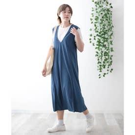 【アンサンブル】ジャンバースカート&Tシャツ (ブルー)
