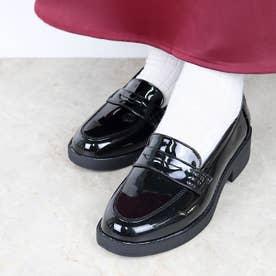 SFW AAA? feminine おじ靴'マニッシュコインローファー/3571 (ブラックエナメル)