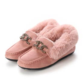 SFW AAA? feminine ゴージャスなビットがかわいいフラットファーモカシンビットスリッポンシューズ/3537 (ピンク)