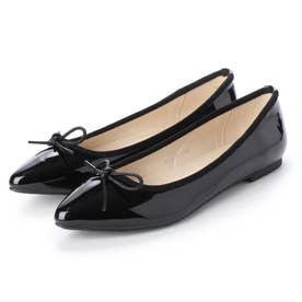 SFW ポインテッドトゥフラット美脚やわらかバレエパンプス/3540 (ブラックエナメル)