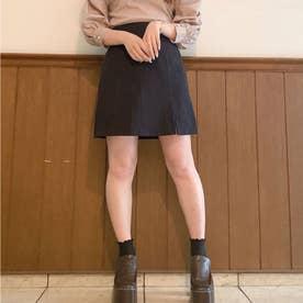 パイピングスリットミニスカート (ブラック)