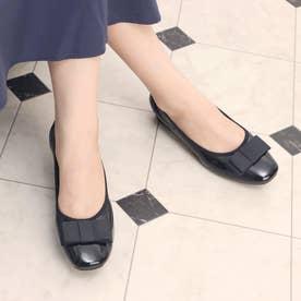 glitter 本革 リボン付バレエシューズ (ブラック)