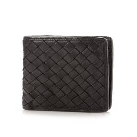 日本製 牛革メッシュ 二つ折り財布 (ブラック)