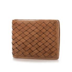 日本製 牛革メッシュ 二つ折り財布 (キャメル)