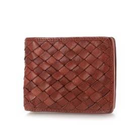 日本製 牛革メッシュ 二つ折り財布 (レッド)