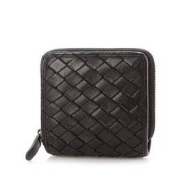 日本製 牛革メッシュ ファスナー開閉小銭入れ付二つ折り財布 (ブラック)