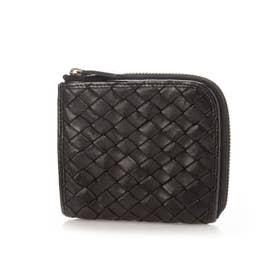 日本製 牛革メッシュL字ファスナー開閉 小型財布 (ブラック)