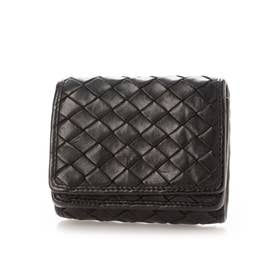 日本製 牛革メッシュ コンパクト三つ折り財布 (ブラック)
