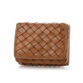 日本製 牛革メッシュ コンパクト三つ折り財布 (キャメル)