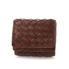 日本製 牛革メッシュ コンパクト三つ折り財布 (ブラウン)