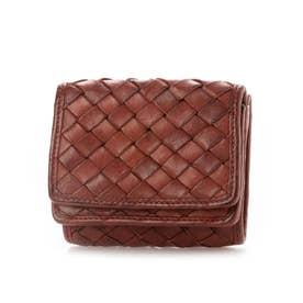 日本製 牛革メッシュ コンパクト三つ折り財布 (レッド)