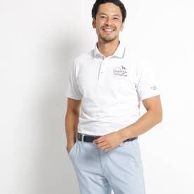 【UVカット】胸ロゴ刺繍半袖ポロシャツ (ホワイト)