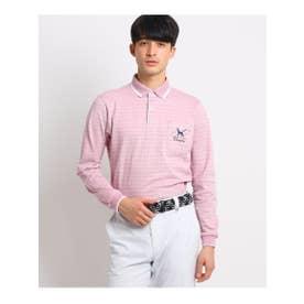 【UVカット/吸水速乾】胸ポケット付きフラワーデザイン長袖ポロシャツ (ピンク)