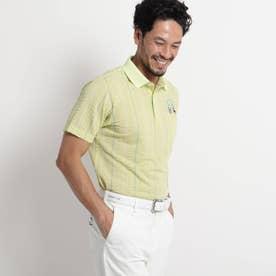 【吸水速乾/UVカット】サッカーストライプ半袖ポロシャツ (イエローグリーン)