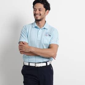 【吸水速乾/UVカット】サッカーストライプ半袖ポロシャツ (サックス)