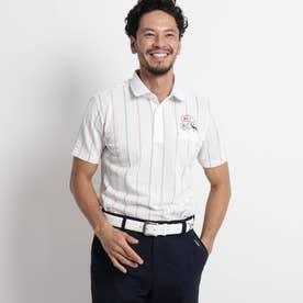 【吸水速乾/UVカット】サッカーストライプ半袖ポロシャツ (ホワイト)
