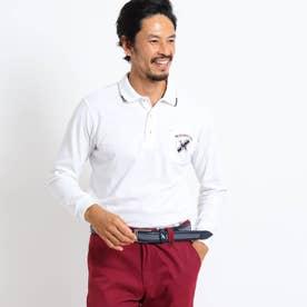 【吸水速乾/UVカット】バックデザイン長袖ポロシャツ (ホワイト)