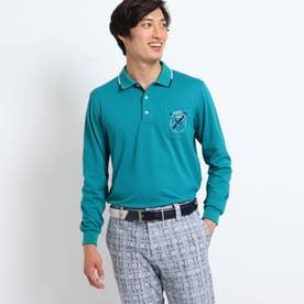 【吸水速乾/UVカット】バックデザイン長袖ポロシャツ (ダークグリーン)