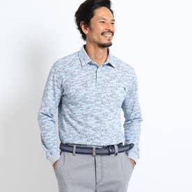 【吸水速乾/UVカット】メッセージロゴ長袖ポロシャツ (グレー)