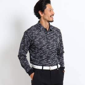 【吸水速乾/UVカット】メッセージロゴ長袖ポロシャツ (ブラック)