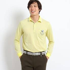 【吸水速乾】アダバットロゴランダムパターン長袖ポロシャツ (マスタード)