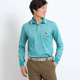 【吸水速乾】アダバットロゴランダムパターン長袖ポロシャツ (ダークグリーン)