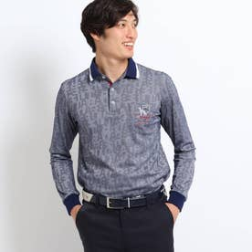 【吸水速乾】アダバットロゴランダムパターン長袖ポロシャツ (ネイビー)
