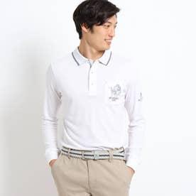 【吸湿発熱】胸ポケット付き襟裏ロゴポロシャツ (ホワイト)