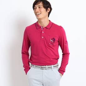 【吸湿発熱】胸ポケット付き襟裏ロゴポロシャツ (ワインレッド)