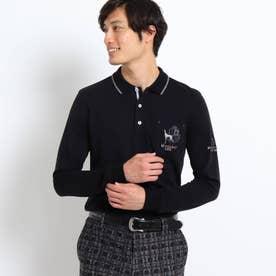 【吸湿発熱】胸ポケット付き襟裏ロゴポロシャツ (ブラック)