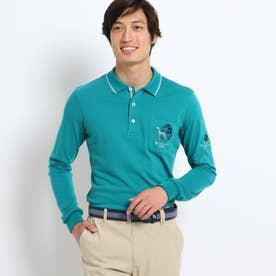 【吸湿発熱】胸ポケット付き襟裏ロゴポロシャツ (ダークグリーン)