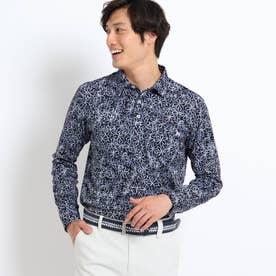 【吸水速乾/蓄熱】胸ポケット付きラインフラワー柄長袖ポロシャツ (ネイビー)