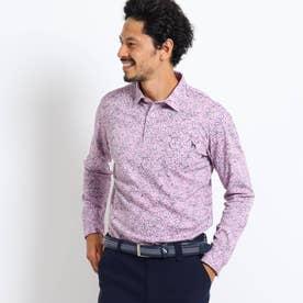 【吸水速乾/蓄熱】胸ポケット付きラインフラワー柄長袖ポロシャツ (ベビーピンク)