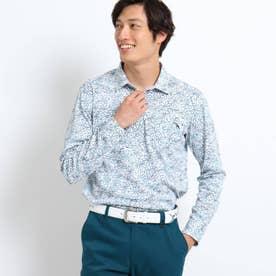 【吸水速乾/蓄熱】胸ポケット付きラインフラワー柄長袖ポロシャツ (ホワイト)
