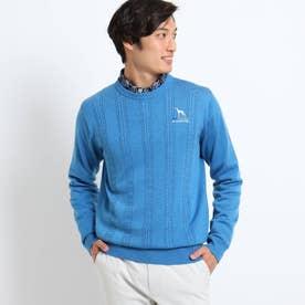 ケーブル編みクルーネックセーター (ブルー)