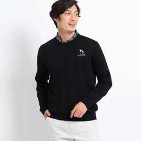 ケーブル編みクルーネックセーター (ブラック)
